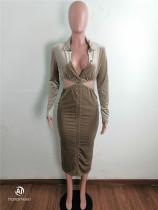 Khaki Turndown Collar Cutout Bodycon Midi Dress