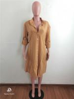 Loose Brown Cotton Linen Midi Shirt Dress