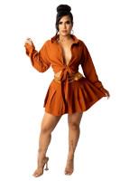 Fall Orange Long Sleeve Lace-up Pleated Skirt Office Set