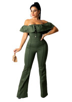 Casual Ladies Army Green Ruffled Off Shoulder Jumpsuit