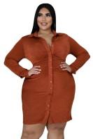 Fat Woman Plus Size Orange Long sleeves Ruched Midi T-shirts Dresses