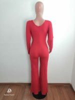 Special Affair Red Cut-out Long Sleeve Wide-leg Jumpsuit