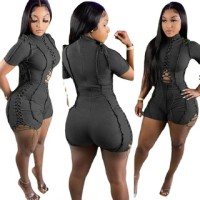Casual Black Short Sleeve Pit Lace-up Romper