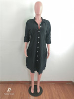 Loose Black Cotton Linen Midi Shirt Dress