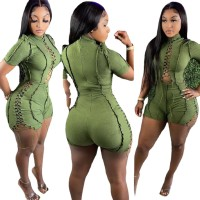 Casual Green Short Sleeve Pit Lace-up Romper