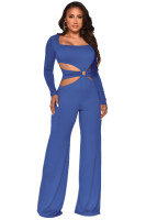 Special Affair Blue Cut-out Long Sleeve Wide-leg Jumpsuit