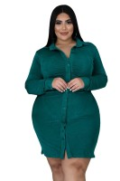 Fat Woman Plus Size Dark Green Long sleeves Ruched Midi T-shirts Dresses