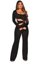 Special Affair Black Cut-out Long Sleeve Wide-leg Jumpsuit