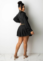 Fall Black Long Sleeve Lace-up Pleated Skirt Office Set