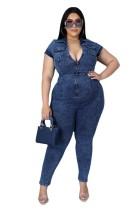 Fat Lady Women's Plus Size Short Sleeve Zipper Turndown Neck Denim Jumpsuit