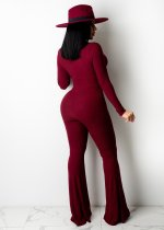 Wine Red Deep V Neck Ribbed Pit Cut Out Outfit Long Sleeve One Piece Flared Jumpsuits