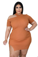 Fat Woman Plus Size Brown Short Sleeve Knitted Pit Club Dress