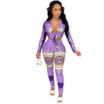 Casual Women Fall Clothes Purple Long Sleeve Tied Printed Two Piece Ladies Set