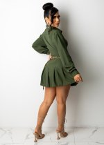Fall Army Green Long Sleeve Lace-up Pleated Skirt Office Set