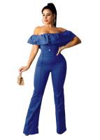 Casual Ladies Blue Ruffled Off Shoulder Jumpsuit