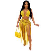 Summer Yellow Weave Two Piece Fringed Beach Skirt Set