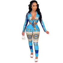 Casual Women Fall Clothes Blue Long Sleeve Tied Printed Two Piece Ladies Set