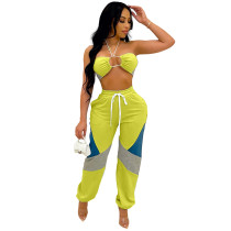 Yellow Matching Halter Crop Top Two Piece Women Set