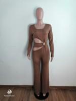 Special Affair Brown Cut-out Long Sleeve Wide-leg Jumpsuit