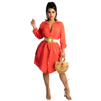 Loose Orange Cotton Linen Midi Shirt Dress