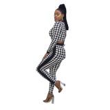 Black & White Patterned Set -2 Piece Set (Crop Top & Legging)