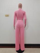 Solid Color Pink Long Sleeve High Collar Crop Top Wide Leg Pants Set