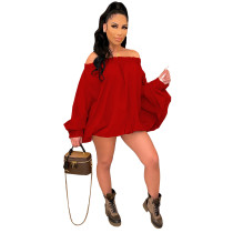 Solid Color Red Woven Off Shoulder Irregular Mini Dress