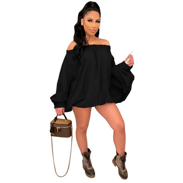 Solid Color Black Woven Off Shoulder Irregular Mini Dress