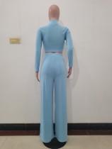 Solid Color Sky Blue Long Sleeve High Collar Crop Top Wide Leg Pants Set