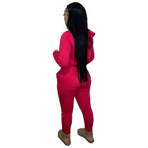 Autumn Winter Thick Drawstring Jogger Two Piece Red Sweatpants and Hoodie Set