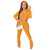 Solid Color Caramel Zipper Velvet Hoodie Sweatpant Two Piece Winter Filed Sleeves Piled Pants Set