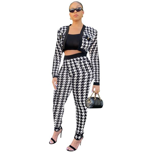 White Air Layer Leopard Houndstooth Print Suits Set for Women