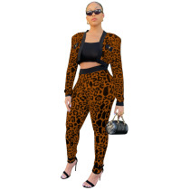 Brown Air Layer Leopard Houndstooth Print Suits Set for Women