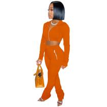 Solid Color Orange Zipper Velvet Hoodie Sweatpant Two Piece Winter Filed Sleeves Piled Pants Set