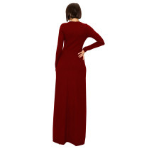 Wine Red Nightclub Clubwear Two Piece Thread Pit Swallowtail Long Blouse and Shorts