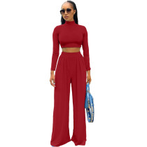Solid Color Red Long Sleeve High Collar Crop Top Wide Leg Pants Set