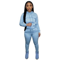 Autumn Winter Thick Drawstring Jogger Two Piece Light Blue Sweatpants and Hoodie Set