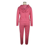 Solid Color Pink Plush Hooded Long Sleeve Winter 2 Piece Pant Set