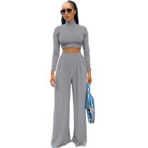 Solid Color Grey Long Sleeve High Collar Crop Top Wide Leg Pants Set