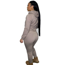 Autumn Winter Thick Drawstring Jogger Two Piece Mocha Sweatpants and Hoodie Set