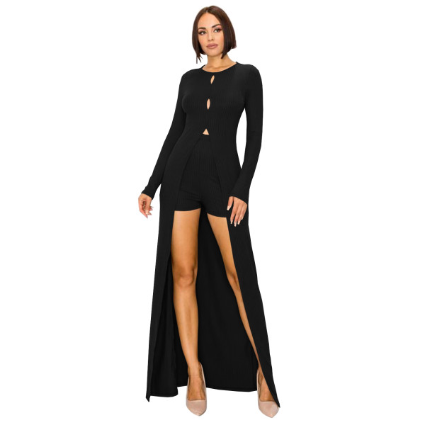Black Nightclub Clubwear Two Piece Thread Pit Swallowtail Long Blouse and Shorts