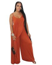 Solid Color Orange Irregular Adjust Straps Blouse and Wide-leg Long Pants
