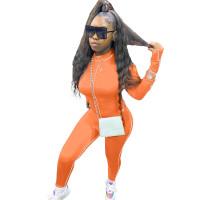 Orange Decorative Edge Patchwork Bodycon Jumpsuit