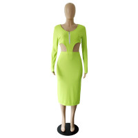 Solid Color Fluorescent Green Knitted Ribbed Zippered Nightclub Dress with Hollow