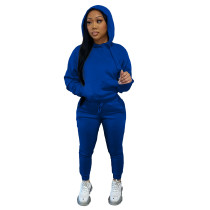 Solid Navy Blue Fleece Hooded Sweatshirt Pant Set