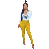 Casual Branded Clothing Scoop Neck Printed Letter Pant Set