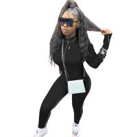 Black Decorative Edge Patchwork Bodycon Jumpsuit