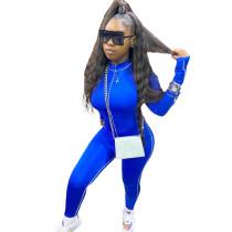 Blue Decorative Edge Patchwork Bodycon Jumpsuit
