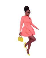Solid Color Pink Suits Irregular Office Blazer Dress Women