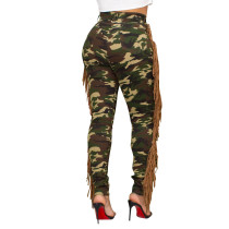 Women's Jeans Fringed Camouflage Ripped Holes Denim Pants